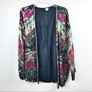 Vintage sequin blazer beaded women's large